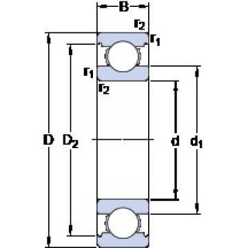 60 mm x 110 mm x 22 mm  SKF 6212 M deep groove ball bearings