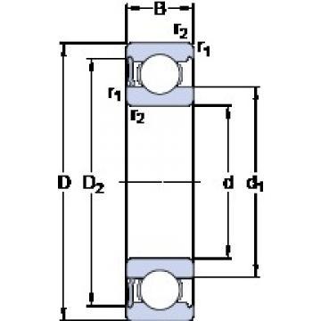 60 mm x 110 mm x 22 mm  SKF 6212-RS1 deep groove ball bearings
