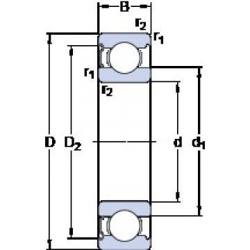 60 mm x 110 mm x 22 mm  SKF 6212-Z deep groove ball bearings