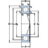 60 mm x 110 mm x 22 mm  SKF 7212 CD/HCP4A angular contact ball bearings